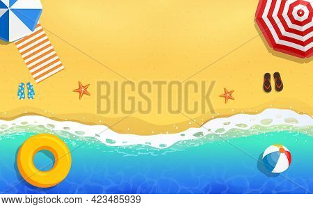 Top View Of Calm Ocean Beach With Blue Waves. Coast Of Sea, Ocean With Sand. Sea Surf, Top View, Bac