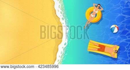 Top View Summer Tropical Banner. Young Woman And Men Swimming In Sea Or Ocean. Summer Holiday Travel