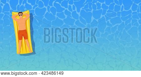 Man Sunbathing Top View. Man Swimming On Inflatable Floats. The Concept Of Vacation And Travel. Vect