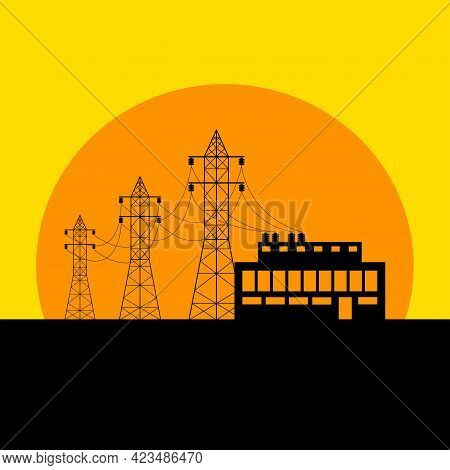 Overhead Power Line And Transformer Substation Against The Backdrop Of The Setting Sun. Flat Vector