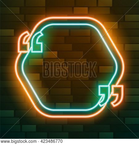 Neon Quotation Frame With Text Effect Vector Template Design