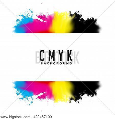 Abstract Cmyk Watercolor Splatter Background Vector Template Design