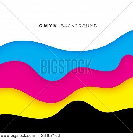 Wave Style Cmyk Flowing Colors Background Vector Template Design