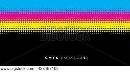 Halftone Background With Cmyk Colors Vector Template Design