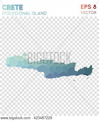 Crete Polygonal, Mosaic Style Island Map. Neat Low Poly Style, Modern Design For Infographics Or Pre