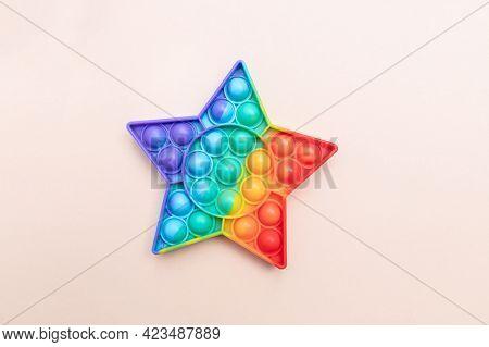 Rainbow Push Pop It Bubble Sensory Fidget Toy In Star Form, Sensory Silicone Toys For Autism, Fidget