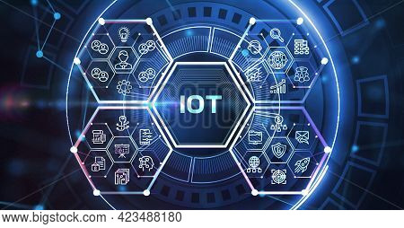 Internet Of Things - Iot Concept. Businessman Offer Iot Products And Solutions. 3d Illustration