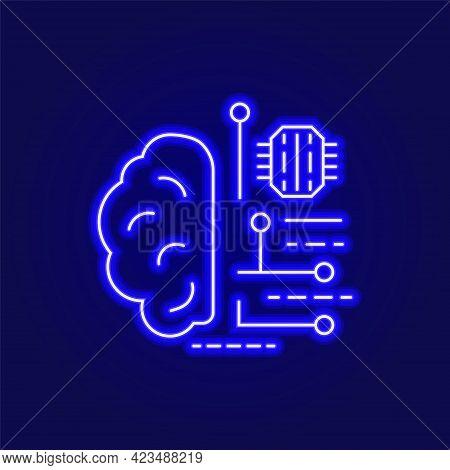 Digital Brain Outline Neon Icon. Microchip In The Brain. Brain Robotics Technology. Blue Linear Cont