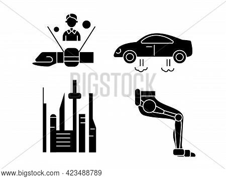 Cyberpunk Glyph Icons Set. Futuristic City. Exoskeleton And High Tech Technology. Bio-robot Gadgets.