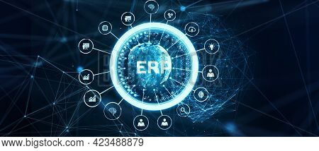 Business, Technology, Internet And Network Concept. Enterprise Resource Planning Erp Corporate Compa