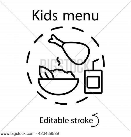 School Meal Concept Outline Concept Icon. Kids Menu. Chicken, Porridge And Juice. Customizable Linea