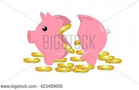 Broken Piggy Piggy Bank With Coins, Vector Art Illustration.