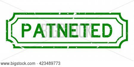 Grunge Green Patented Word Rubber Business Seal Stamp On White Background