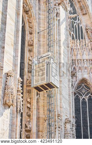 Milan, Italy - July 7, 2020. Restoration Works In The Cathedral Of Milan, Duomo Di Milano, Workers U