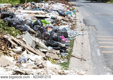 Pile of domestic garbage. garbage dump with lot of plastic bag and bottles and other waste. A lot of