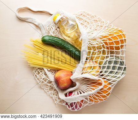 Food Delivery. The Bag Net With Food For Donations During Quarantine.