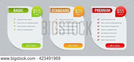 Tariff Comparsion Table Block With Three Options - Web Ui Chart Flat Design Template - Basic, Standa