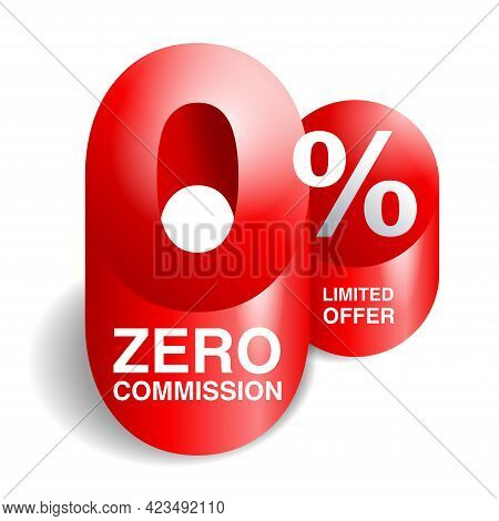 0 Percents 3d Banner Element - Zero Commission Special Offer Layout Template With 3d Zero Number And