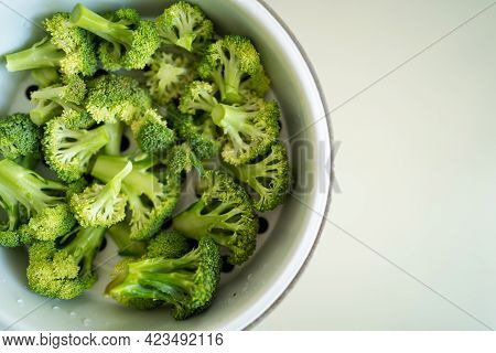 Fresh Broccoli Vegetables Are Placed In The Steamer For Steaming. Good Nutrition. Vegetarianism. Nat