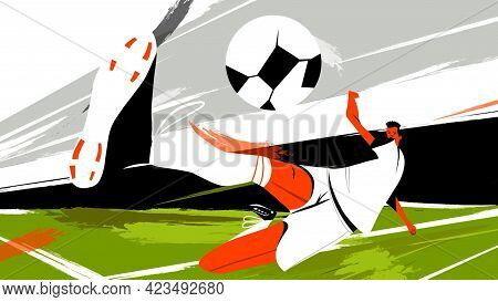 Professional Football Soccer Player In Action, Moments Of Sports Game. Motion. Silhouette Of A Man T