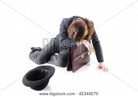 Businesswoman begging some money on white