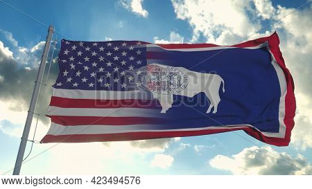 Flag Of Usa And Wyoming State. Usa And Wyoming Mixed Flag Waving In Wind. 3d Rendering