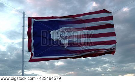 Usa And Wyoming Mixed Flag Waving In Wind. Wyoming And Usa Flag On Flagpole. 3d Rendering