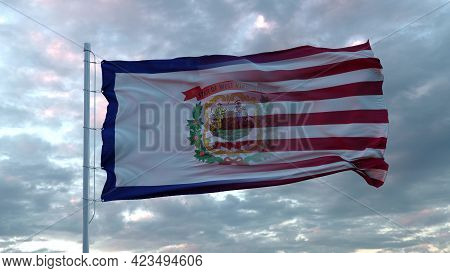 Usa And West Virginia Mixed Flag Waving In Wind. West Virginia And Usa Flag On Flagpole. 3d Renderin