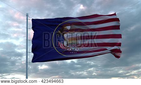Usa And Utah Mixed Flag Waving In Wind. Utah And Usa Flag On Flagpole. 3d Rendering