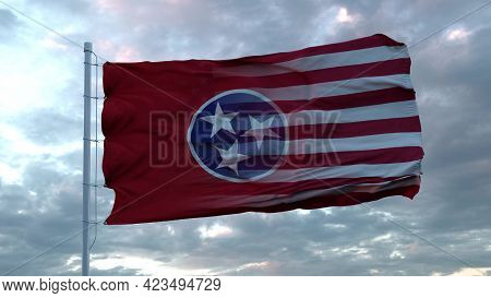 Usa And Tennessee Mixed Flag Waving In Wind. Tennessee And Usa Flag On Flagpole. 3d Rendering