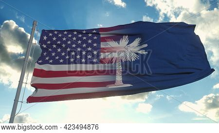 Flag Of Usa And South Carolina State. Usa And South Carolina Mixed Flag Waving In Wind. 3d Rendering