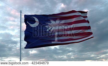 Usa And South Carolina Mixed Flag Waving In Wind. South Carolina And Usa Flag On Flagpole. 3d Render
