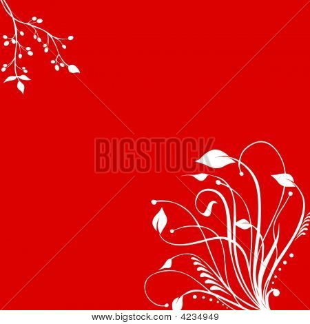 White Floral Pattern Red Background