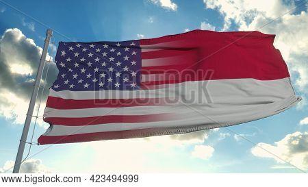 Flag Of Usa And North Carolina State. Usa And North Carolina Mixed Flag Waving In Wind. 3d Rendering