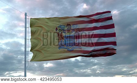 Usa And New Jersey Mixed Flag Waving In Wind. New Jersey And Usa Flag On Flagpole. 3d Rendering