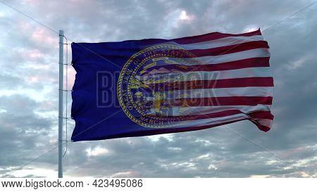 Usa And Nebraska Mixed Flag Waving In Wind. Nebraska And Usa Flag On Flagpole. 3d Rendering