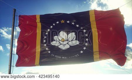 National Flag Of Mississippi Waving Against A Blue Sky. 3d Rendering