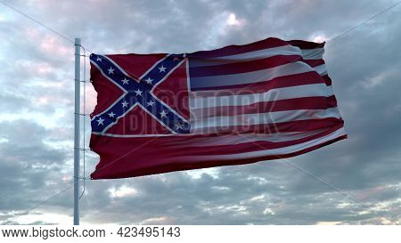 Usa And Mississippi Mixed Flag Waving In Wind. Mississippi And Usa Flag On Flagpole. 3d Rendering