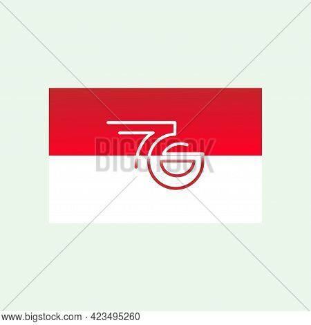The Indonesian Flag With The Number 76 Symbolizes Indonesia's Independence Day