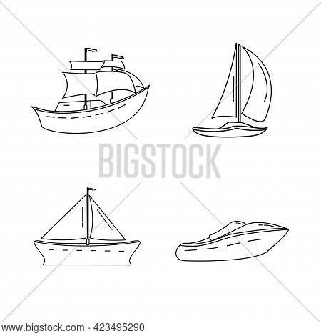 Set Of Mono Line Style Design Marine Vehicle Sailboat, Jet Boat Vector Illustration