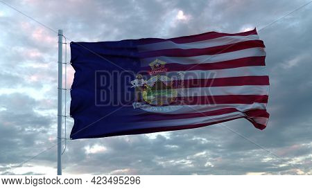 Usa And Maine Mixed Flag Waving In Wind. Maine And Usa Flag On Flagpole. 3d Rendering