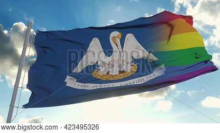 Flag Of Louisiana And Lgbt. Louisiana And Lgbt Mixed Flag Waving In Wind. 3d Rendering