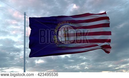 Usa And Kentucky Mixed Flag Waving In Wind. Kentucky And Usa Flag On Flagpole. 3d Rendering
