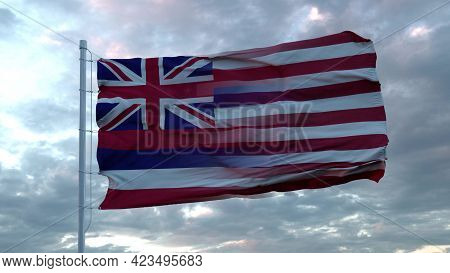 Usa And Hawaii Mixed Flag Waving In Wind. Hawaii And Usa Flag On Flagpole. 3d Rendering