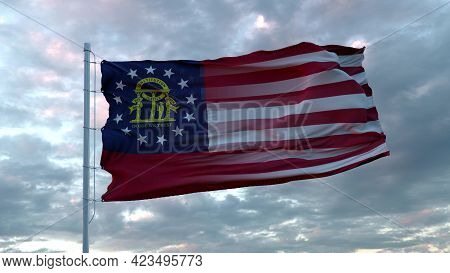 Usa And Georgia Mixed Flag Waving In Wind. Georgia And Usa Flag On Flagpole. 3d Rendering