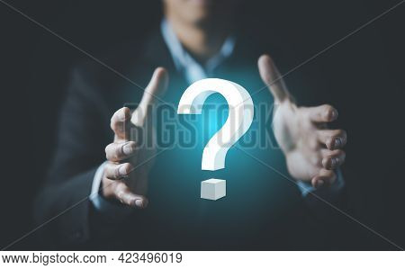 Ask Question Online Concept, Businessman Hand Hold Interface Question Marks Sign Web, Question Marks