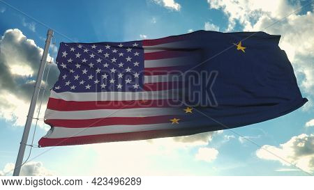 Flag Of Usa And Alaska State. Usa And Alaska Mixed Flag Waving In Wind. 3d Rendering