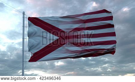 Usa And Alabama Mixed Flag Waving In Wind. Alabama And Usa Flag On Flagpole. 3d Rendering