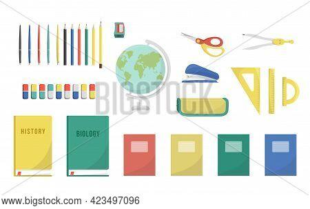 Set Of School Stationary: Pencil Sharpener, Pencils, Pens, Triangle, Ruler, Protractor, Eraser, The