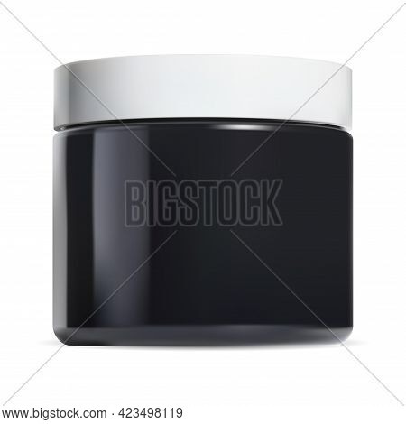 Black Cosmetic Cream Jar. Gloss Pot White Plastic Cap. Makeup Can Sample, Round Face Butter Template